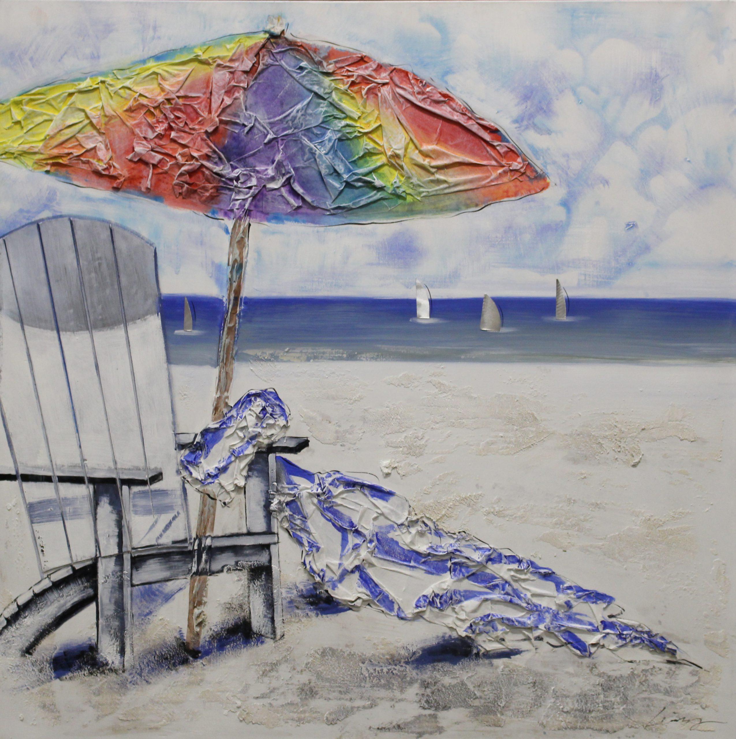 Olieverfschilderij Schilderij Strand Handgeschilderd 100x100 Woonkamer Slaapkamer Trendybywave Nl