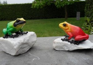 Beeld brons - Kikker op rots        - 7 cm hoog - Bronzartes