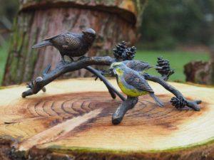 Beeld - Tuinbeeld - brons - Vogels op tak - Bronzartes - 17 cm hoog