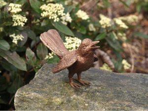 Beeld brons - Vogel met gespreide vleugels - 8 cm hoog - Bronzartes