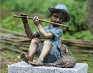 Beeld brons - Tuinbeeld - Fluitspeler met lam - 38 cm hoog - Bronzartes