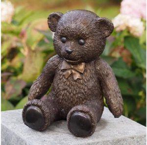 Beeld teddybeer - brons - Tuinbeeld - Bronzartes - 22 cm hoog