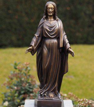 Religieus Beeld - Tuinbeeld - Grafdecoratie - brons - Jezus - Bronzartes - 53 cm hoog