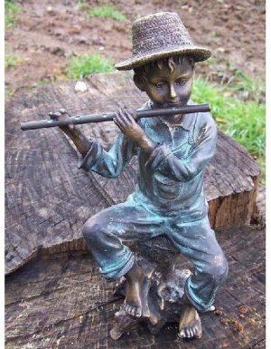 Beeld jongen met dwarsfluit - Tuinbeeld - brons - Bronzartes - 23 cm hoog