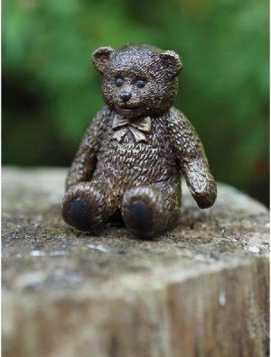 Beeld brons - Tuinbeeld - Knuffelbeer - Bronzartes - 8 cm hoog