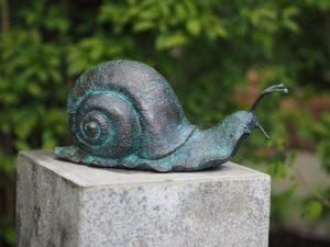 Tuinbeeld - bronzen beeld - Slak - Bronzartes - 17 cm hoog