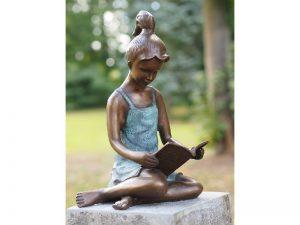 Tuinbeeld - bronzen beeld - Lezend meisje - Bronzartes - 40 cm hoog