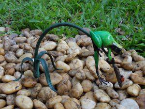 Tuinbeeld - bronzen beeld - Gekleurde kikker aan twijg / groen - Bronzartes - 13 cm hoog