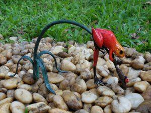 Tuinbeeld - bronzen beeld - Gekleurde kikker aan twijg / rood - Bronzartes - 13 cm hoog