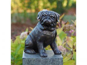 Tuinbeeld - bronzen beeld - Mops Hond - Bronzartes - 29 cm hoog