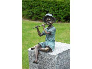 Tuinbeeld - bronzen beeld - Jongen met fluit - Bronzartes - 20 cm hoog