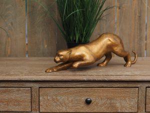 Tuinbeeld - bronzen beeld - Sluipende jaguar klein - Bronzartes - 14 cm hoog