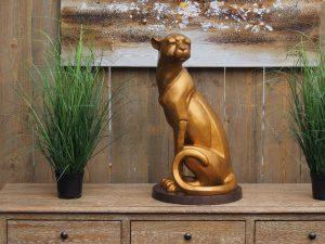 Tuinbeeld - bronzen beeld - Zittende jaguar - Bronzartes - 59 cm hoog