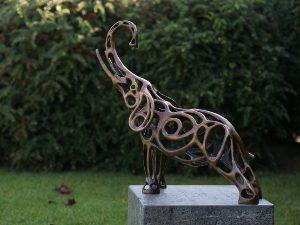 Tuinbeeld - draadsculptuur - Olifant - Bronzartes - 57 cm hoog