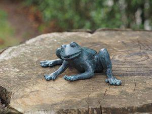 Tuinbeeld - bronzen beeld - Kikker - Bronzartes - 8 cm hoog