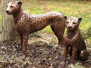 Tuinbeeld - bronzen beeld - Zittende cheetah - 50 cm hoog