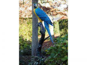 Tuinbeeld - bronzen beeld - Pagegaai op boomstam blauw - 168 cm hoog