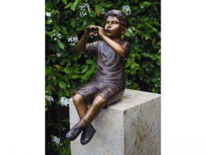 Tuinbeeld - bronzen beeld - Jongen met fluit - 75 cm hoog