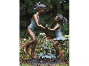Tuinbeeld - bronzen beeld - Waterornament - 2 Kinderen in badpak - 103 cm hoog