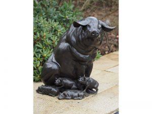 Tuinbeeld - bronzen beeld - Varkensfamilie - Varken - biggetjes - 0 cm hoog