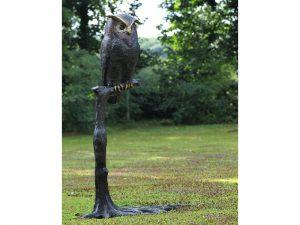 Tuinbeeld - bronzen beeld - Uil op tak - 200 cm hoog