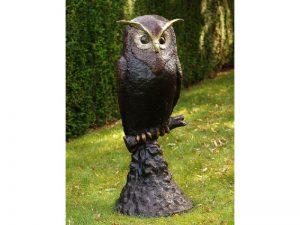 Tuinbeeld - bronzen beeld - Uil op rots - 114 cm hoog