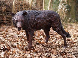 Tuinbeeld - bronzen beeld - Staande wolf - 71 cm hoog