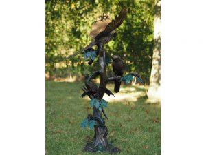 Tuinbeeld - bronzen beeld - Papegaaien op boom - 138 cm hoog