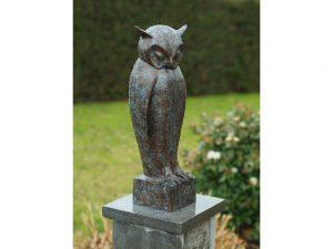 Tuinbeeld - bronzen beeld - Uil - 50 cm hoog