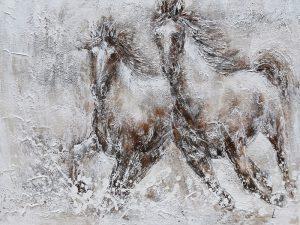 Olieverfschilderij op canvas - Paard - 150 x 100 cm