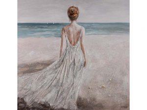 Olieverfschilderij op canvas - Handgeschilderd schilderijVrouw - 120 x 120 centimeter