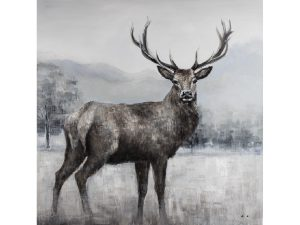Olieverfschilderij op canvas - Handgeschilderd schilderij hert - 120 x 120 centimeter