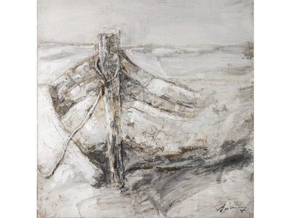 Olie op canvas - Roeiboot - 120 cm hoog
