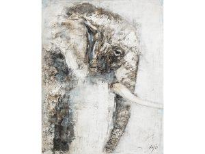 Olie op canvas - Olifant - 150 cm hoog