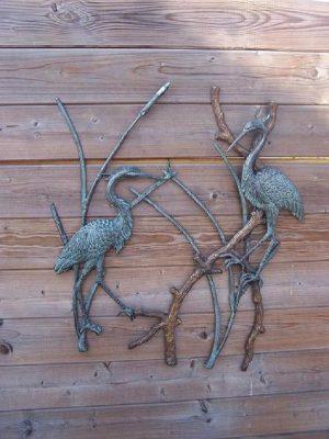Tuinbeeld - bronzen beeld - Reigers / muurdecoratie - Bronzartes - 72 cm hoog