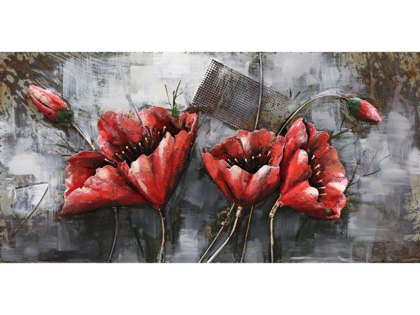 3D art Metaalschilderij - Rode bloemen - 120 x 60 cm