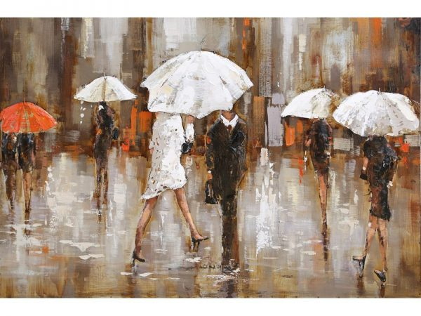 3D art Metaalschilderij - Paraplu's / regen - handgeschilderd - 150 x 60 cm
