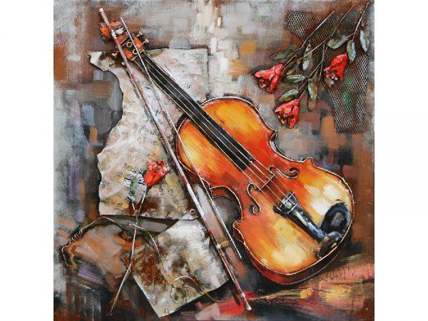 3D art Metaalschilderij - Viool - handgeschilderd - 80 x 80 cm