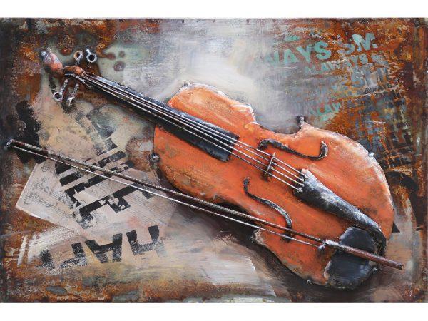 3D art Metaalschilderij - Viool - handgeschilderd - 60 x 40 cm