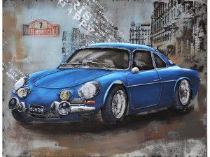 """3D art Metaalschilderij - Antieke benzine """"gasoline"""" pomp - handgeschilderd - 60 x 120 cm"""