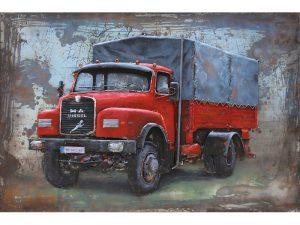 3D art Metaalschilderij - Volkswagen Kever / Herbie - 80 x 40 cm