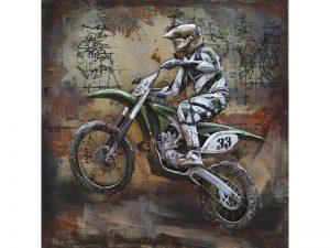 3D art Metaalschilderij - Crossmotor - handgeschilderd - 100 x 100 cm