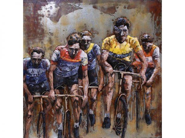 3D art Metaalschilderij - Wielrenners Tour de France - 100 x 100 cm