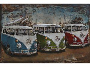 3D Metaalschilderij - Surf auto's Volkswagen bussen T1 - handgeschilderd - 120 x 80 cm