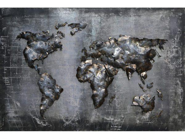 3D art Metaalschilderij - Wereldkaart - handgeschilderd - 120 x 80 cm