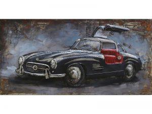 3D art Metaalschilderij - Mercedes Gullwing zwart - handgeschilderd - 120 x 60 cm