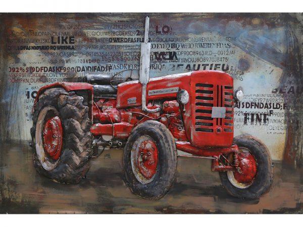 3D art Metaalschilderij - Tractor rood - handgeschilderd - 120 x 80 cm