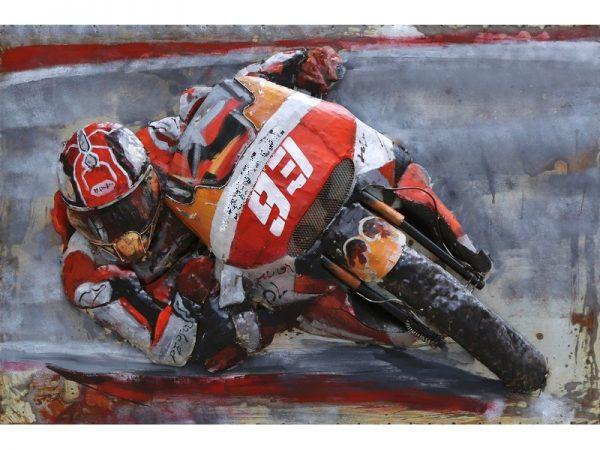 3D art Metaalschilderij - Race motorrijder - handgeschilderd - 120 x 80 cm