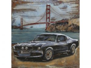 3D art Metaalschilderij - Ford Mustang Shelby zwart - 100 x 100 cm