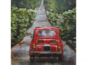 3D art Metaalschilderij - Fiat 500 rood - handgeschilderd - 100 x 100 cm